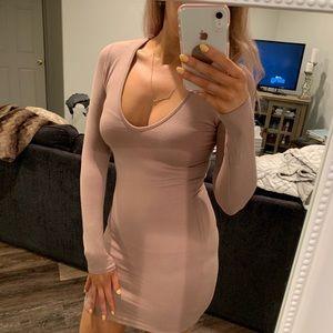 Naked Wardrobe Taupe Longsleeve Dress